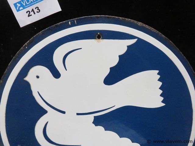 Antiek emaille bord Depot diameter 37cm
