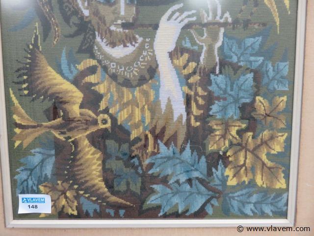 Kader met borduurwerk achter glas 81x97cm