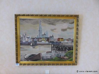Schilderij olie op doek gesigneerd A. Van De Wiele Antwerps Scheldezicht (slpk2)