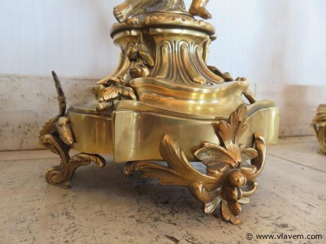 Koppel bronzen antieke kandelaars