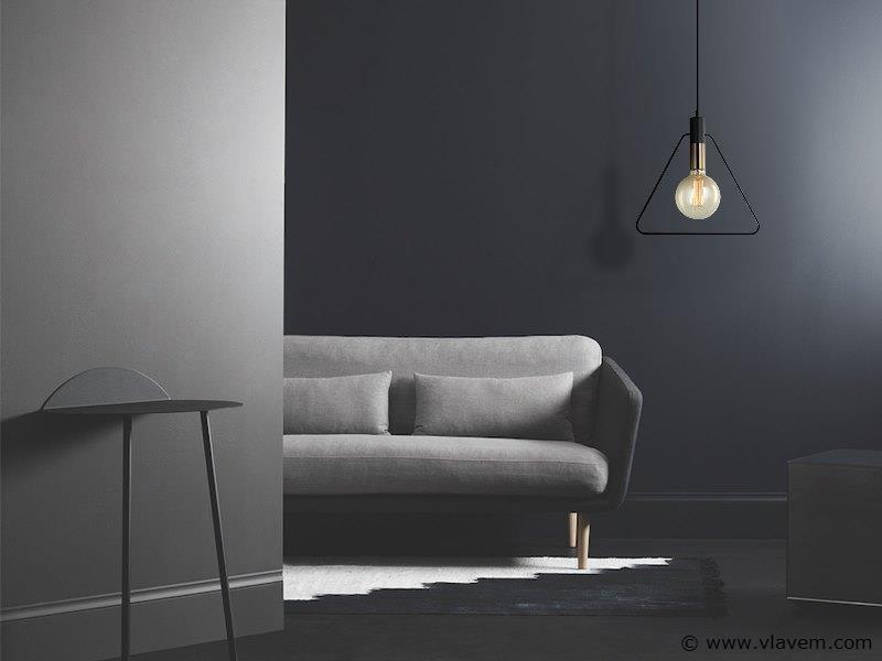 5 x Design hanglampen - TRIAN - Mat zwart & Brons