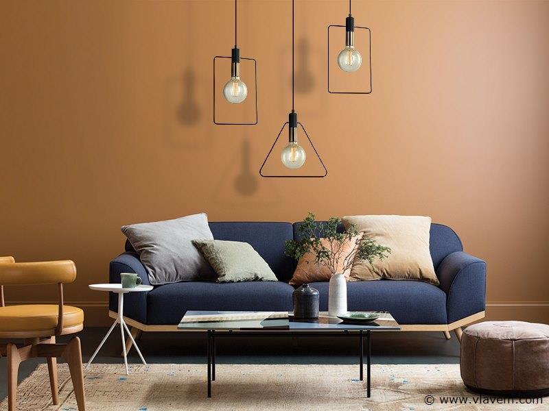 10 x Design hanglampen - TRIAN - Mat zwart & Brons