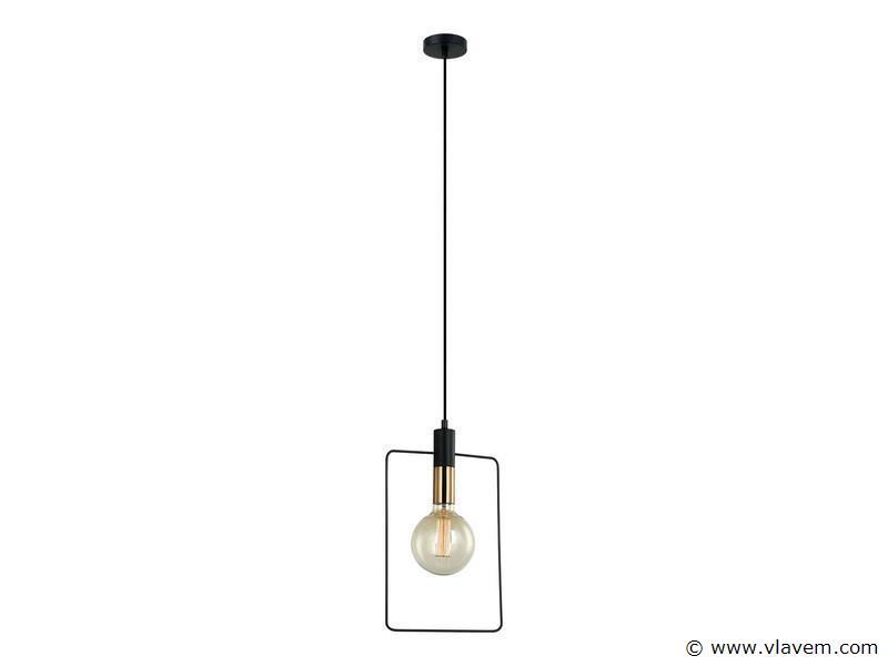 5 x Design hanglampen - QUADRAN - Mat zwart & Brons