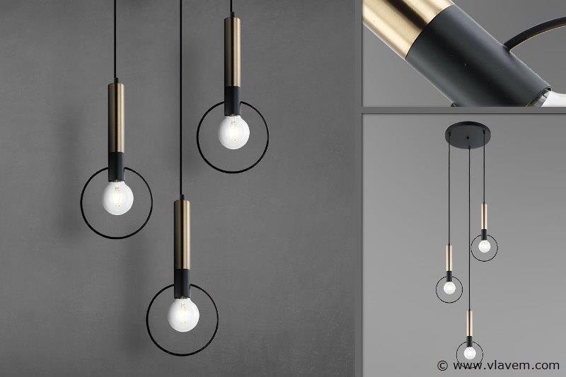 3 x Design hanglampen met 3 houders - RONATRI - Zwart & Brons