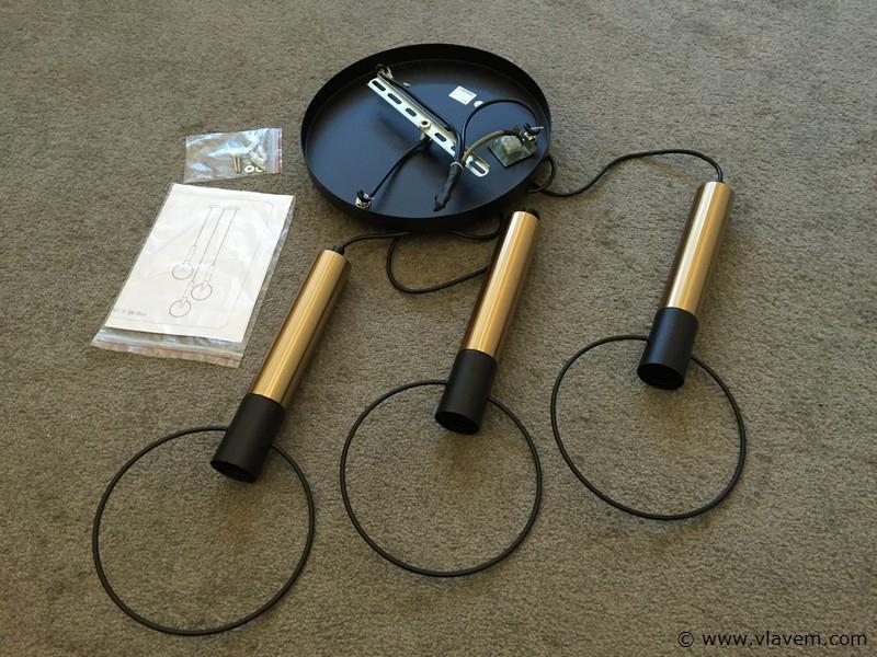 6 x Design hanglampen met 3 houders - RONATRI - Zwart & Brons