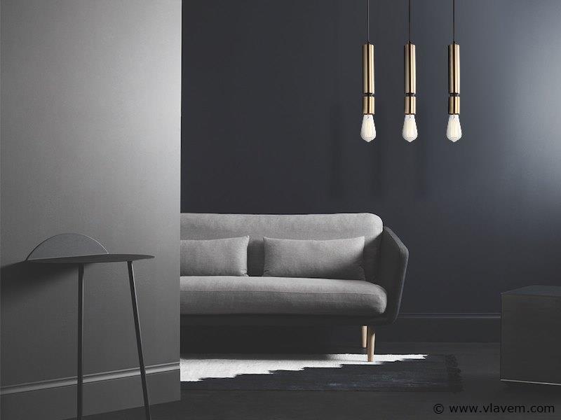 3 x Design hanglampen met 3 houders - COMOTRI - Zwart & Brons