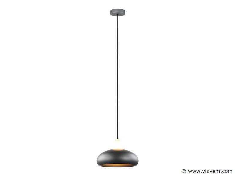 6 x Design hanglampen - FREDA - Mat donkergrijs met wit ( glas )