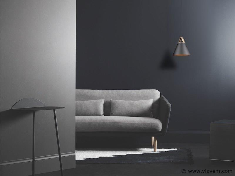 3 x Design hanglampen - TRIWOG - Mat donkergrijs met hout
