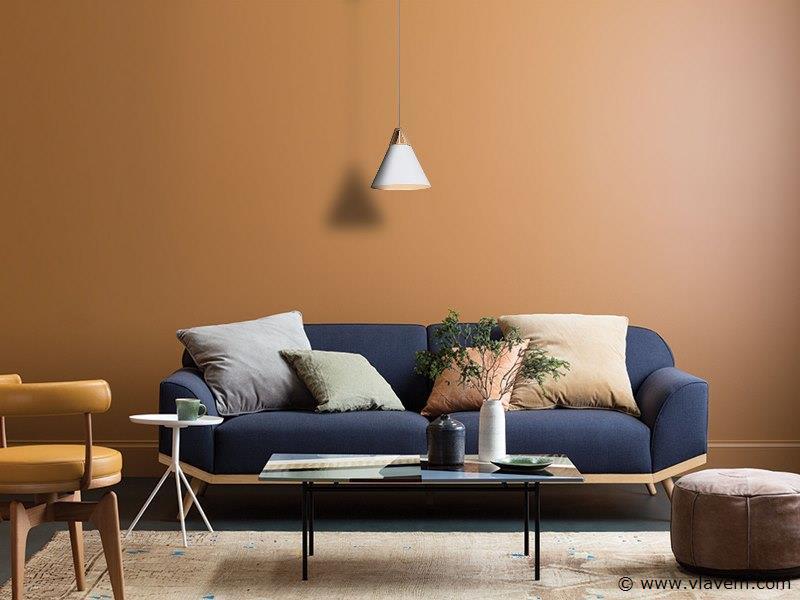 3 x Design hanglampen - TRIWOW - Mat wit met hout