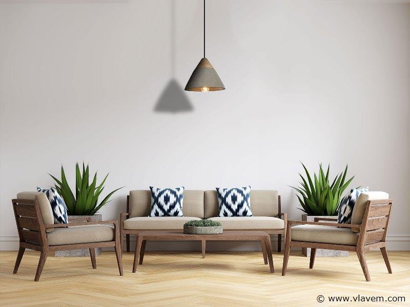 2 x Design hanglampen - CONWOL - Betongrijs met hout