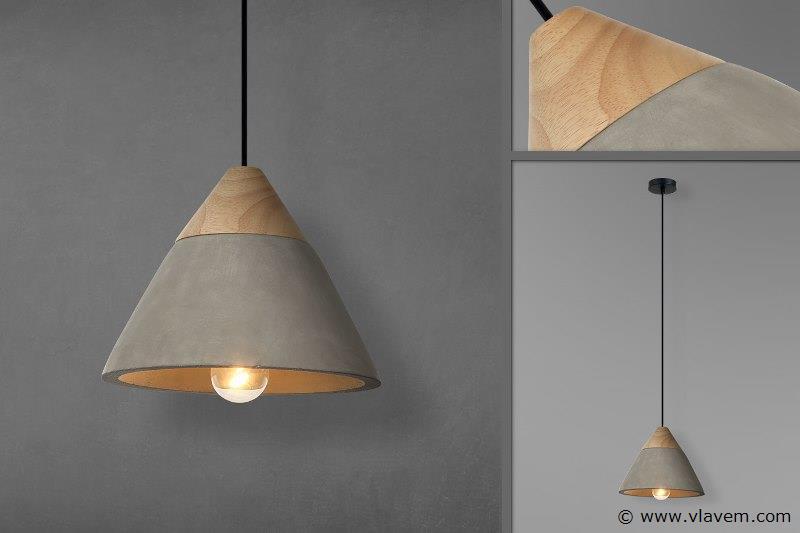 5 x Design hanglampen - CONWOL - Betongrijs met hout