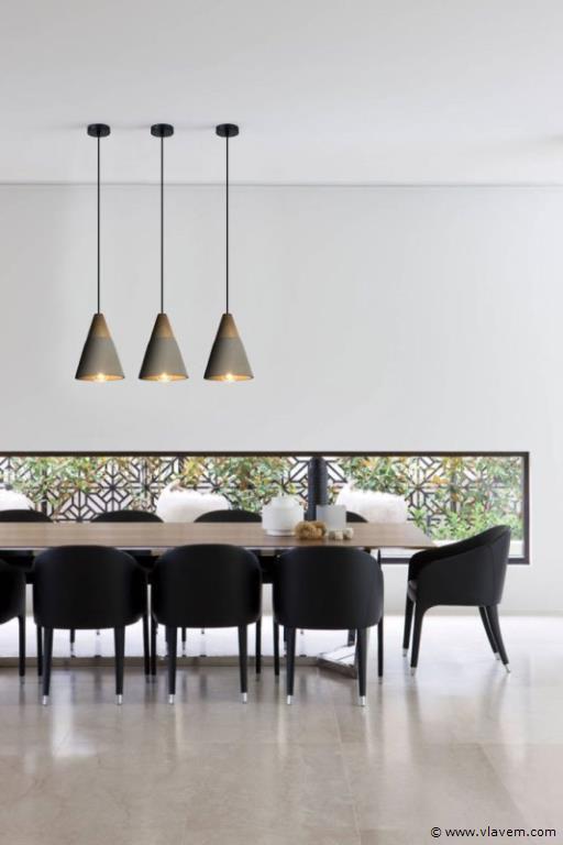2 x Design hanglampen - CONWOM - Betongrijs met hout