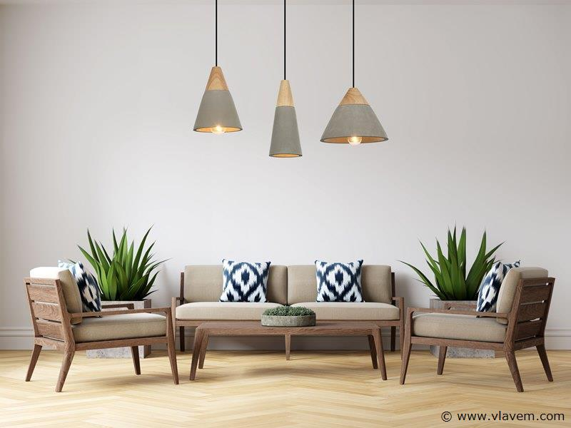 5 x Design hanglampen - CONWOM - Betongrijs met hout