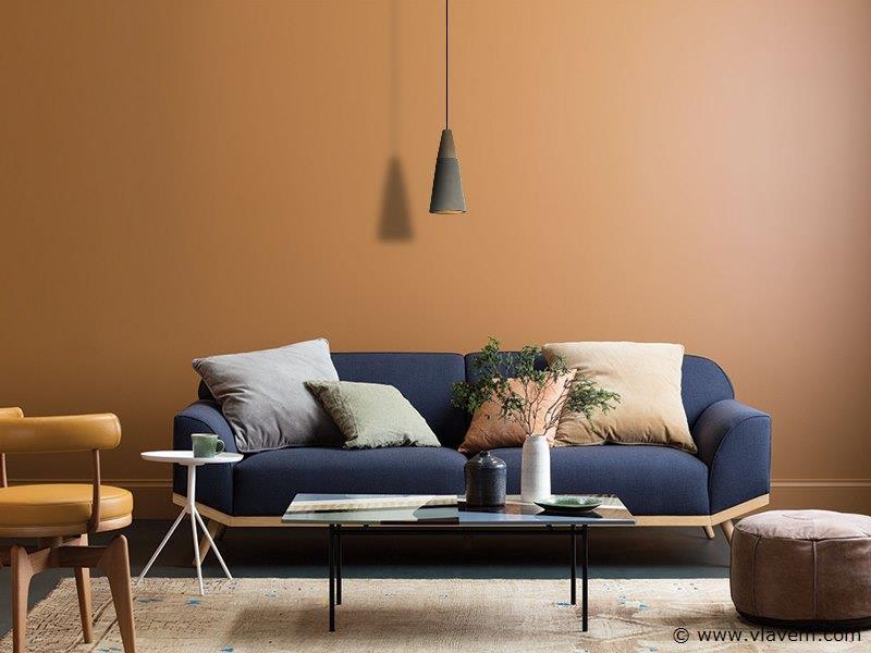 2 x Design hanglampen - CONWOS - Betongrijs met hout