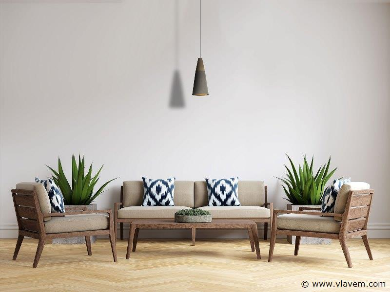 5 x Design hanglampen - CONWOS - Betongrijs met hout
