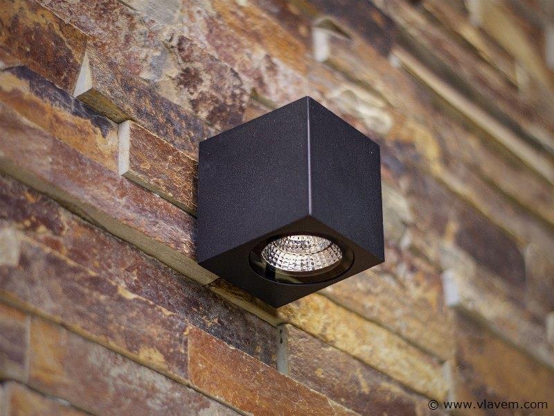 10 x 5W LED mat zwart tuin en wandlampen rechthoekig - warm wit