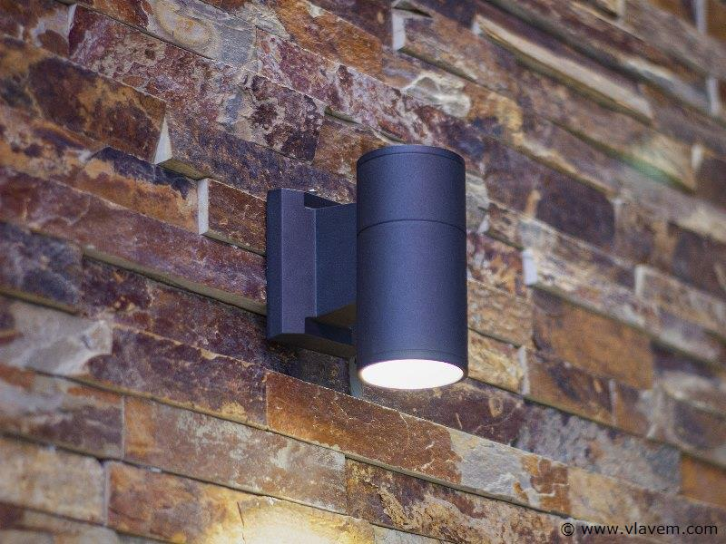 10 x 5W LED mat zwart tuin en wandlampen cilinder - warm wit
