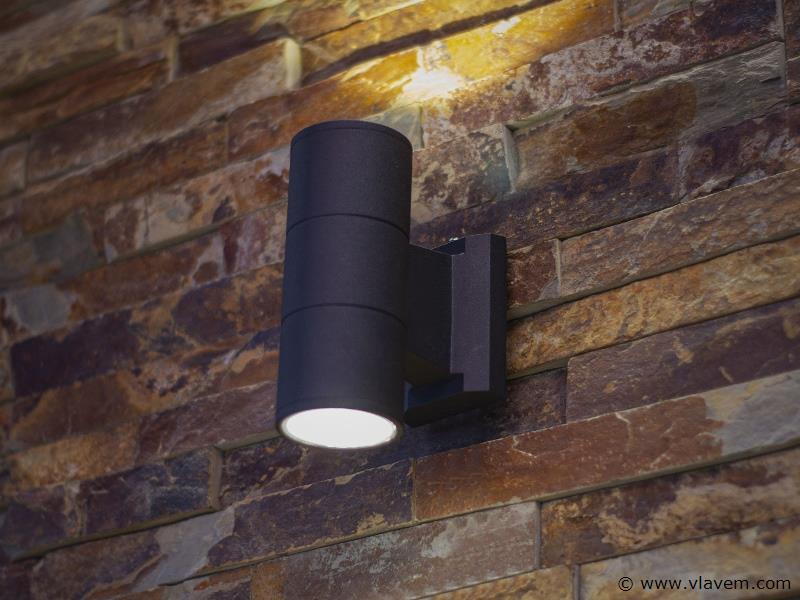 10 x 10W LED mat zwart tuin en wandlampen cilinder duo licht - warm wit