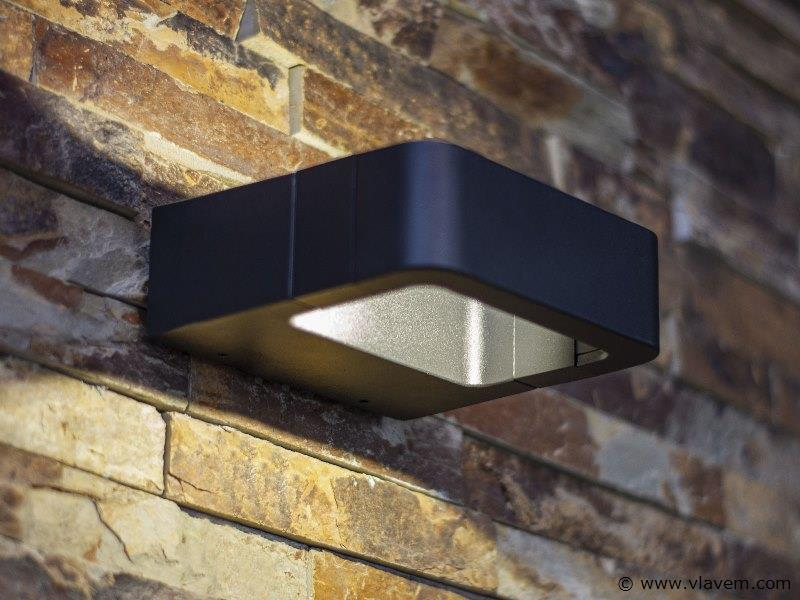 6 x 7W LED mat zwart tuin en wandlampen 14,5cm - warm wit