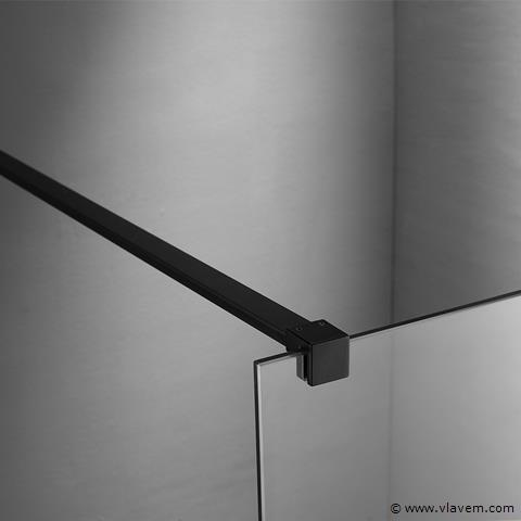 1 st. Inloopdouche met zwart profiel - 140 x 200 - Glasdikte 8mm