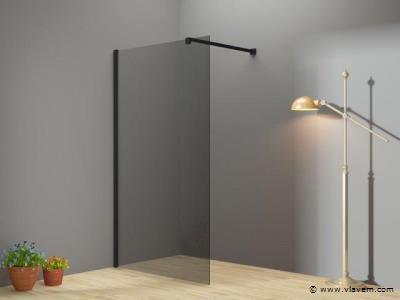 1 st. Inloopdouche rookglas met mat zwart profiel - 90x200 - 8mm
