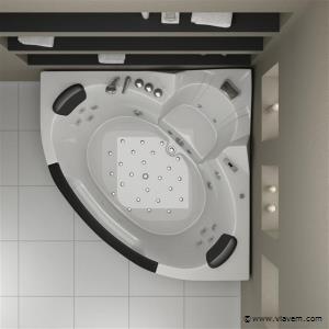 2 Persoons whirlpool massagebad met Thermostatische kraan Wit - Hoekbad 152x152cm