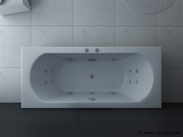 1 à 2 Persoons whirlpool massagebad Wit - Linkse opstelling 170x75cm