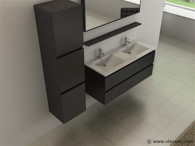 Compleet 4-Delig Duo-badkamermeubel (120cm) - Zwart hout decor