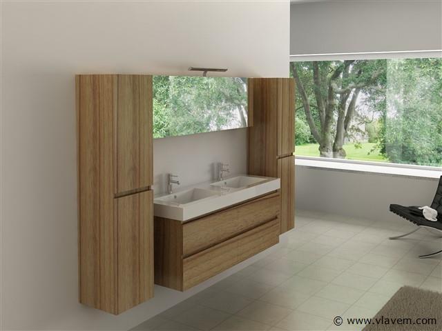 Compleet 4-delig Duo-badkamermeubel (140cm) - Licht hout decor