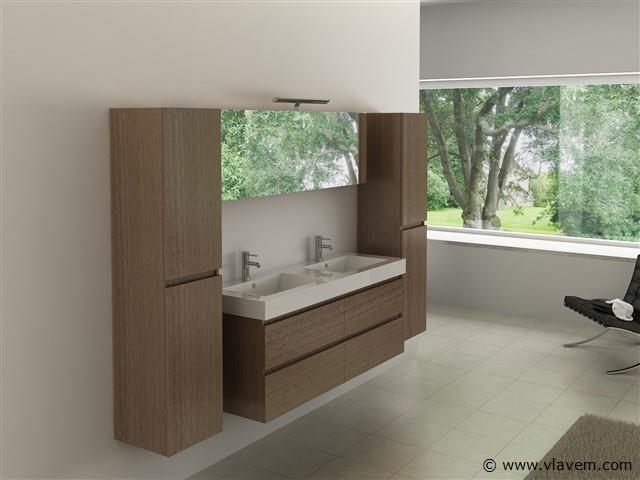 Compleet 4-delig Duo-badkamermeubel (140cm) - Donker hout decor