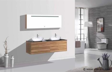 Compleet 4-delig Duo-badkamermeubel (160cm) - Donker hout decor