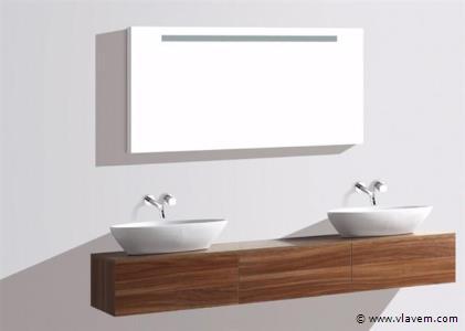 2-Delig Duo-badkamermeubel (180cm) - Donker hout decor