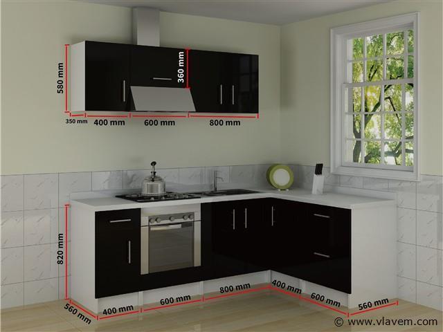 Hoekkeuken - Hoogglans zwart 2450x600/1040x600mm (Rechtszijdig)