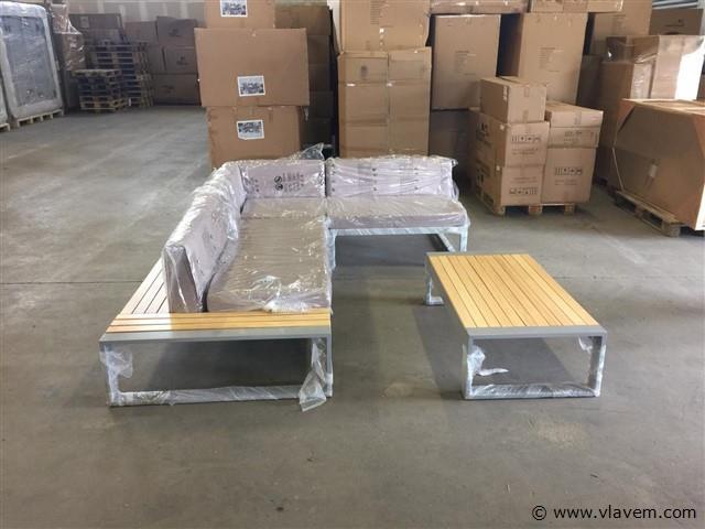 Loungeset - 4-delig Aluminium frame Lichtbruin hout