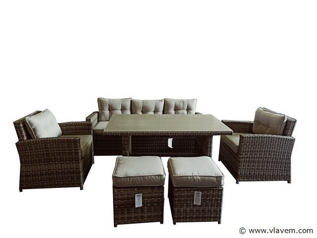 Loungeset - 6-delig Wicker Natural