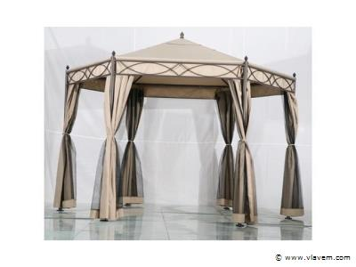 Gazebo parasol 6-hoekig Zandkleurig 350x350cm