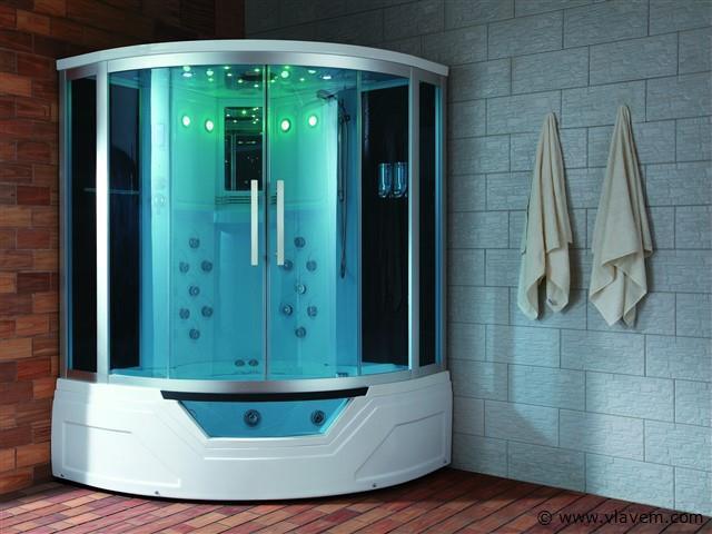 Stoomcabine met Whirlpool Massagebad - Halfrond - Wit bad met witte cabine 150x150x220cm