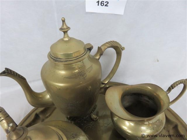 Koperen thee/koffieset op plateau