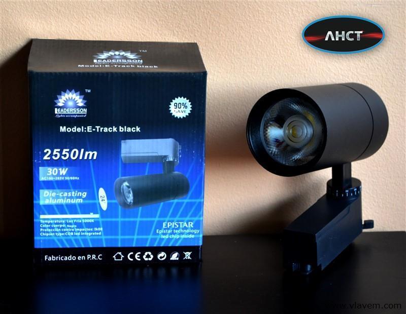 5 x 30W LED RAILSPOT TRACKLIGHT zwart - 2550 Lumen - 5000K HELDER WIT LICHT