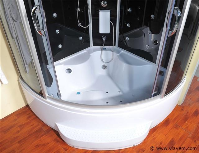 Stoomcabine met Whirlpool Massagebad - Halfrond - Wit bad met zwarte cabine - 150x150x220cm