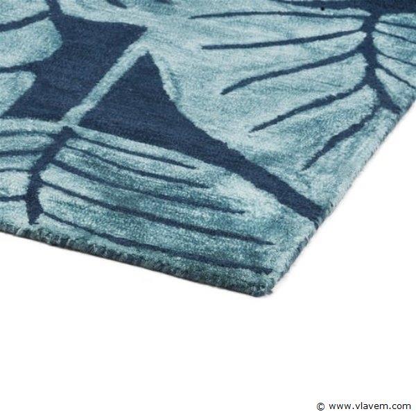 1st. 160x230cm Tapijt - Blauw met bloemen