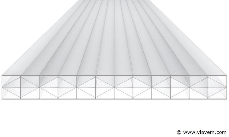 Polycarbonaat  Platen X-structuur 16 mm dik Opaal