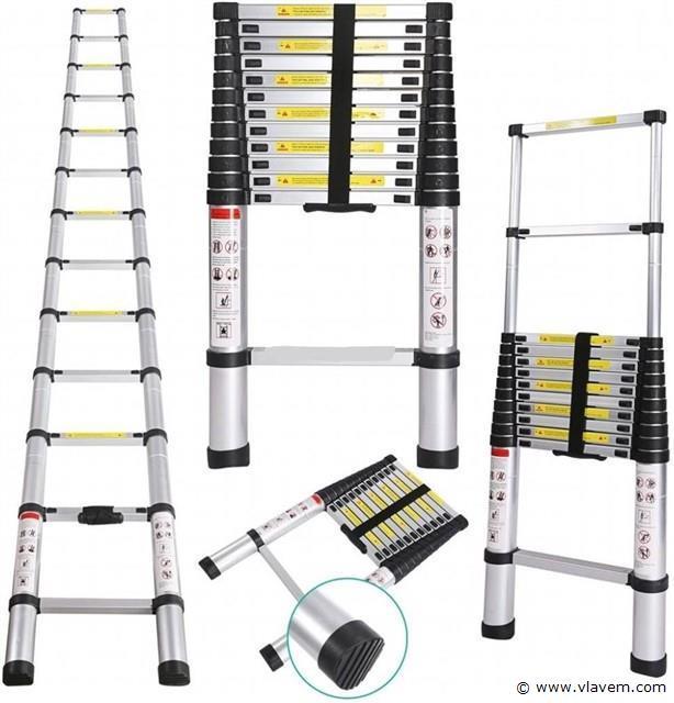 Telescopische Aluminium ladder 13 treden, 3x