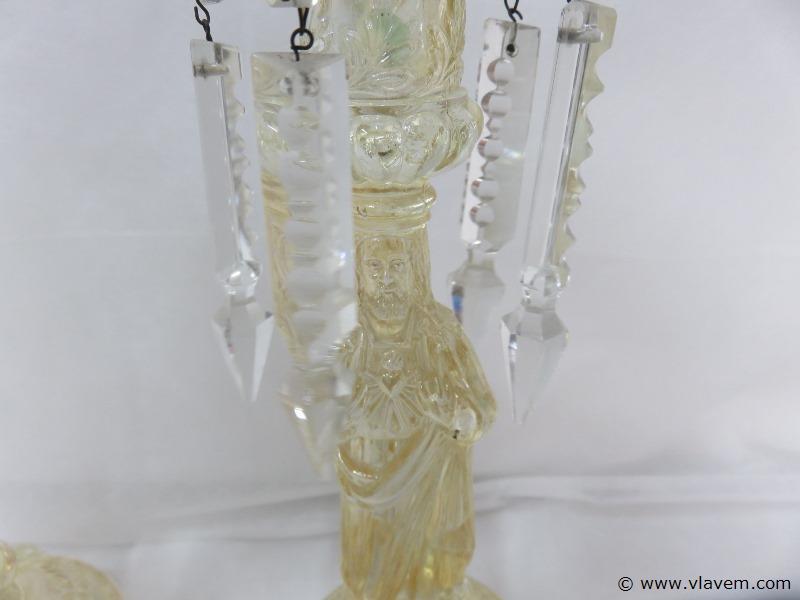 Antieke glazen kandelaars