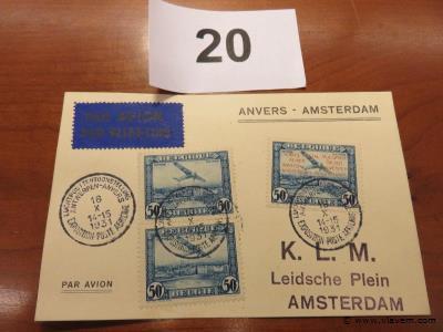 Kaart luchtpost Anvers-Amsterdam