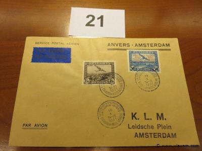 Enveloppe luchtpost Anvers-Amsterdam