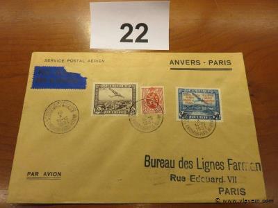 Enveloppe luchtpost Anvers-Paris