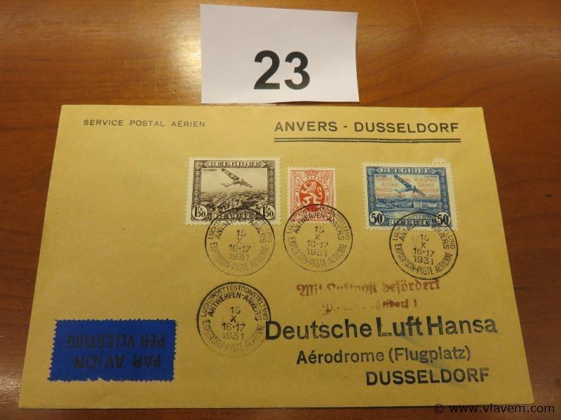 Enveloppe luchtpost Anvers-Dusseldorf