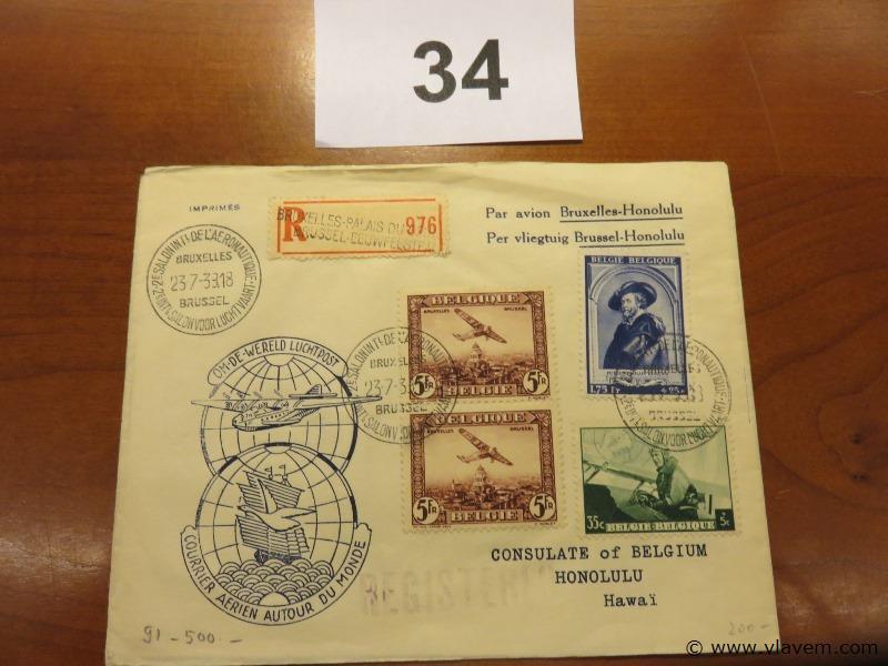 Enveloppe luchtpost Brussel-Honolulu