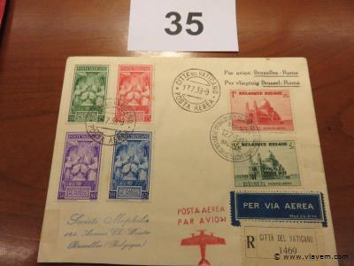 Enveloppe luchtpost Brussel-Rome
